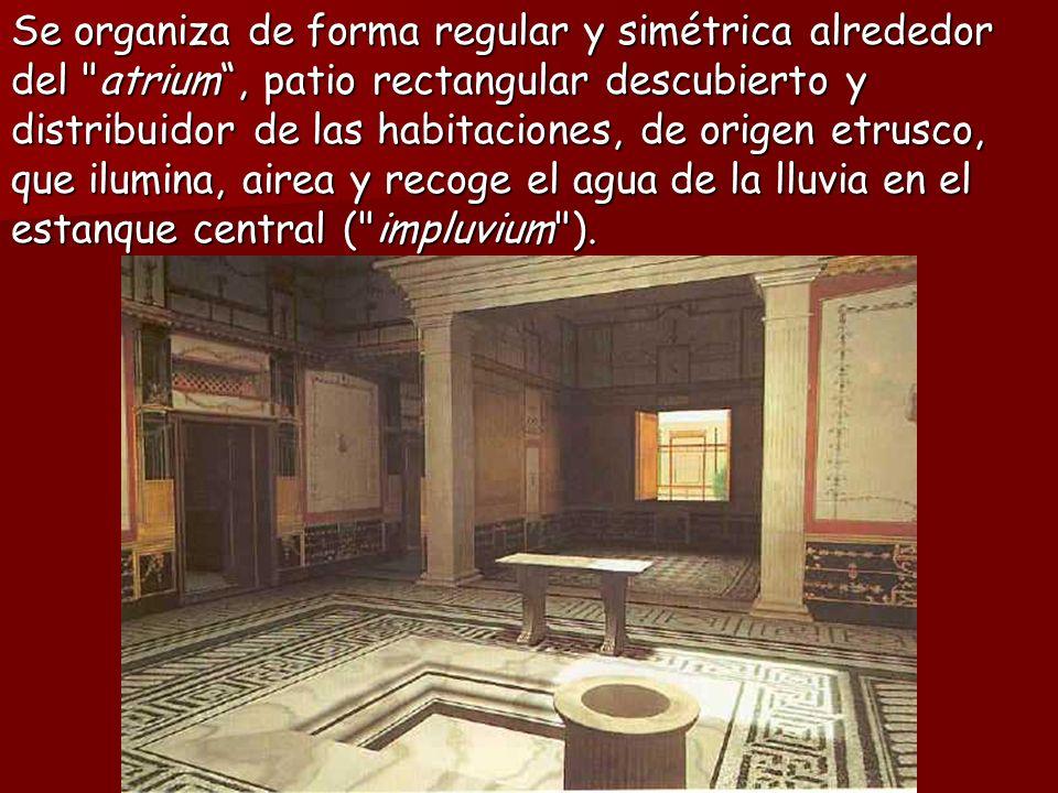 Se organiza de forma regular y simétrica alrededor del atrium , patio rectangular descubierto y distribuidor de las habitaciones, de origen etrusco, que ilumina, airea y recoge el agua de la lluvia en el estanque central ( impluvium ).