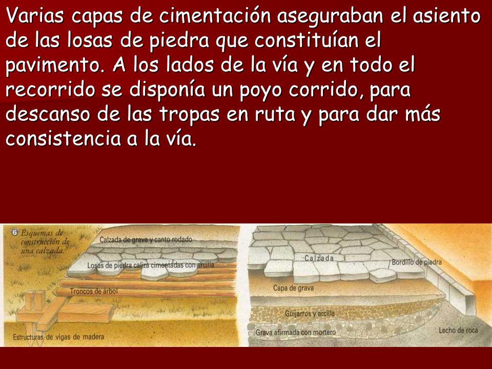 Varias capas de cimentación aseguraban el asiento de las losas de piedra que constituían el pavimento.