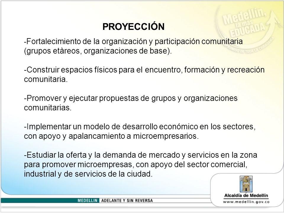 PROYECCIÓN -Fortalecimiento de la organización y participación comunitaria (grupos etàreos, organizaciones de base).