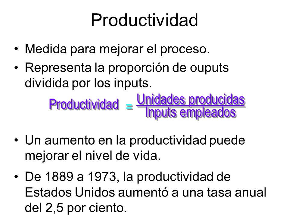 Productividad Unidades producidas Productividad = Inputs empleados