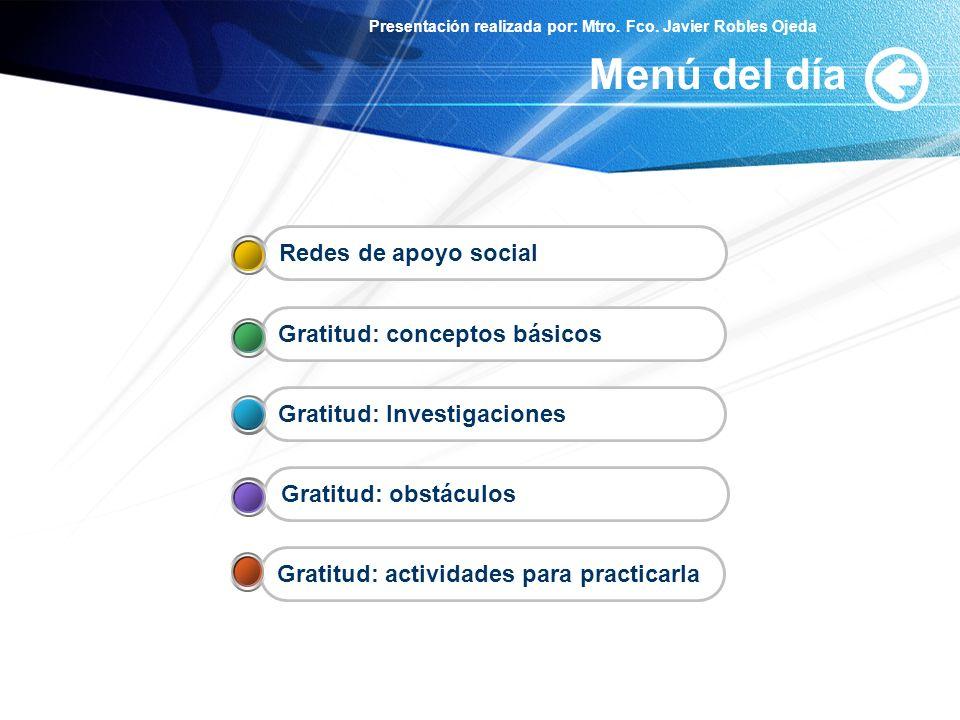 Menú del día Redes de apoyo social Gratitud: conceptos básicos