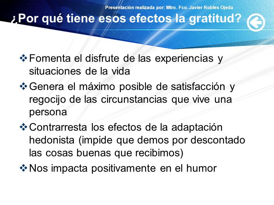 ¿Por qué tiene esos efectos la gratitud