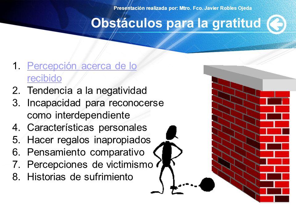Obstáculos para la gratitud
