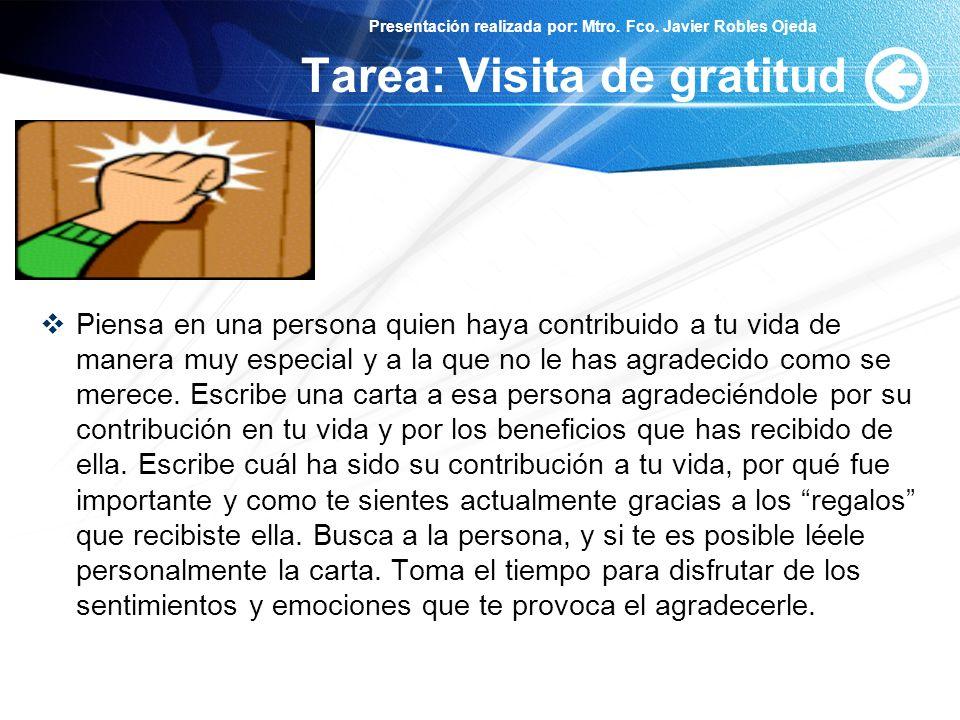 Tarea: Visita de gratitud