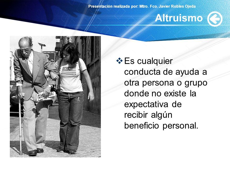 Altruismo Es cualquier conducta de ayuda a otra persona o grupo donde no existe la expectativa de recibir algún beneficio personal.