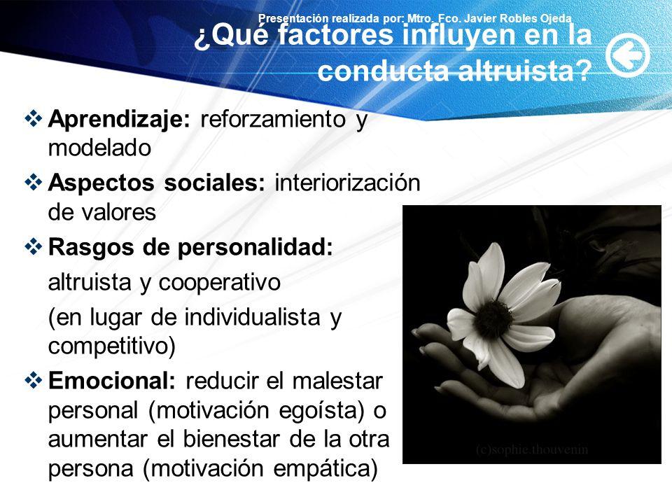 ¿Qué factores influyen en la conducta altruista