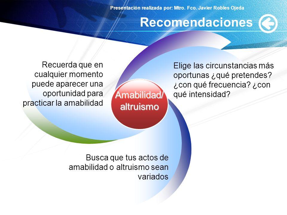 Recomendaciones Amabilidad/ altruismo