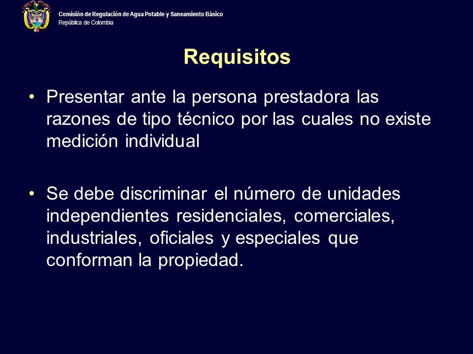 Requisitos Presentar ante la persona prestadora las razones de tipo técnico por las cuales no existe medición individual.