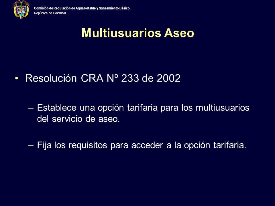 Multiusuarios Aseo Resolución CRA Nº 233 de 2002