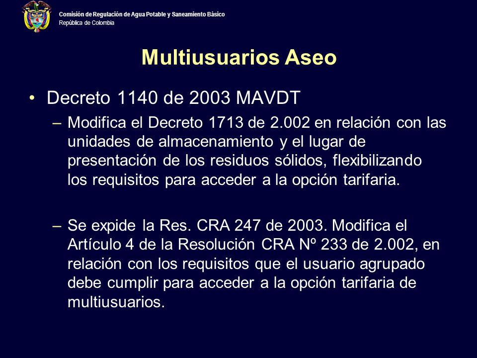 Multiusuarios Aseo Decreto 1140 de 2003 MAVDT