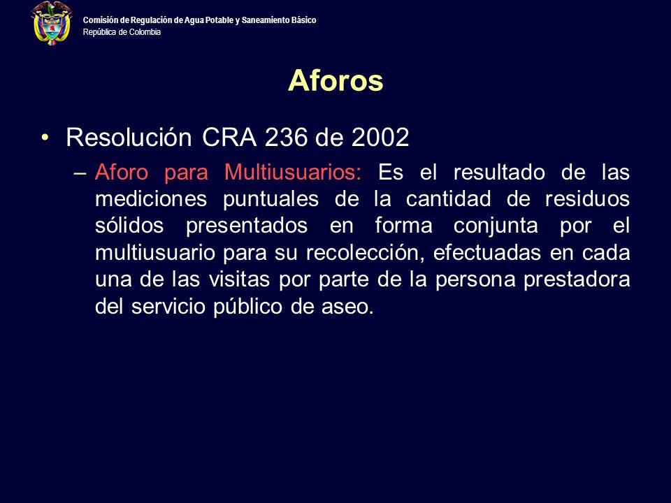 Aforos Resolución CRA 236 de 2002
