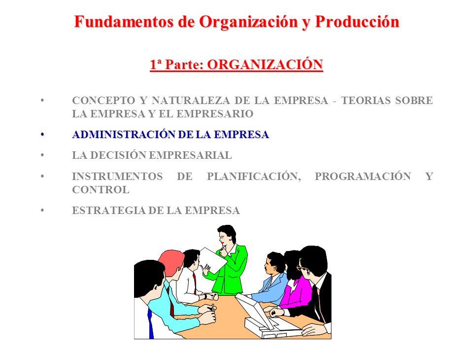 Fundamentos de Organización y Producción 1ª Parte: ORGANIZACIÓN