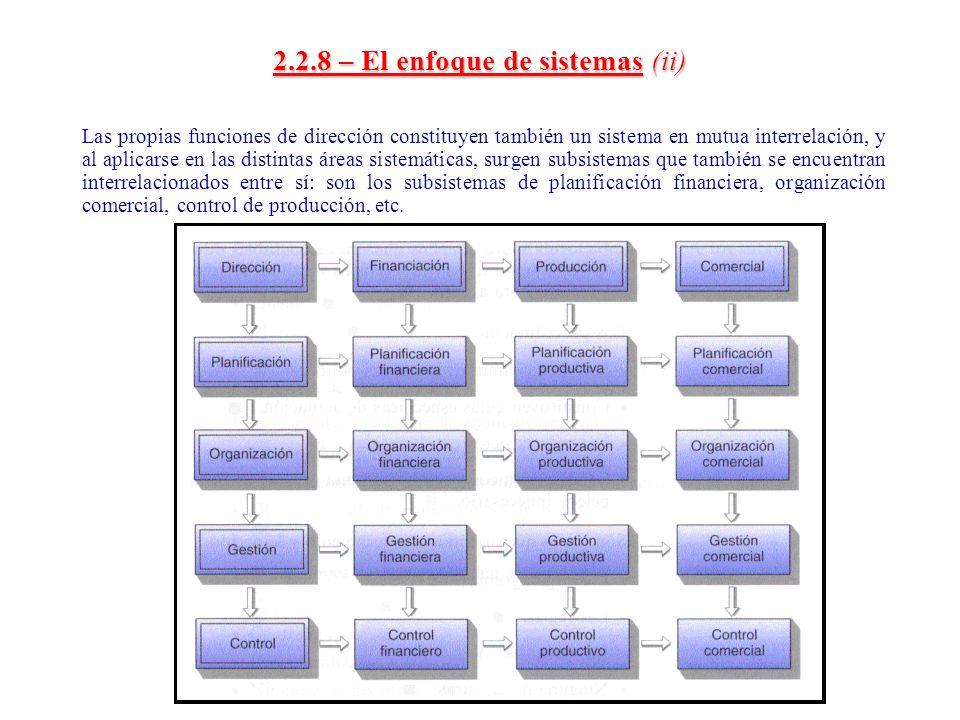 2.2.8 – El enfoque de sistemas (ii)