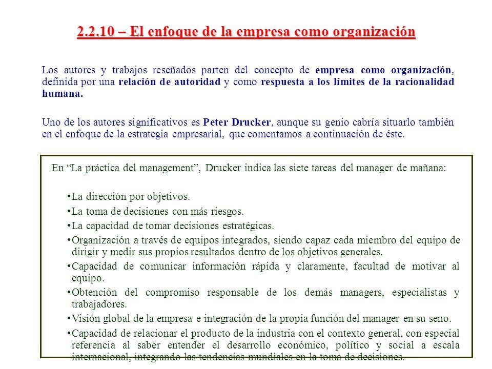 2.2.10 – El enfoque de la empresa como organización