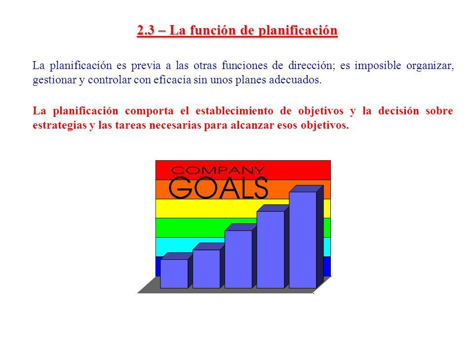 2.3 – La función de planificación