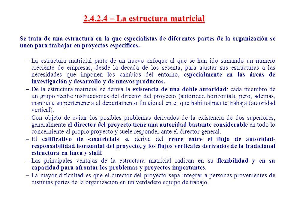 2.4.2.4 – La estructura matricial