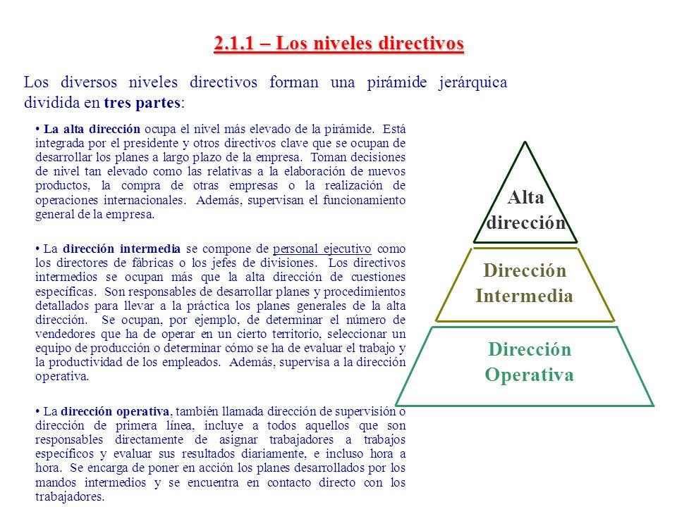 2.1.1 – Los niveles directivos