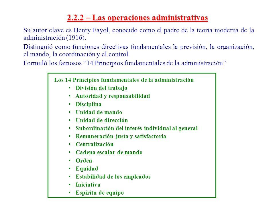 2.2.2 – Las operaciones administrativas