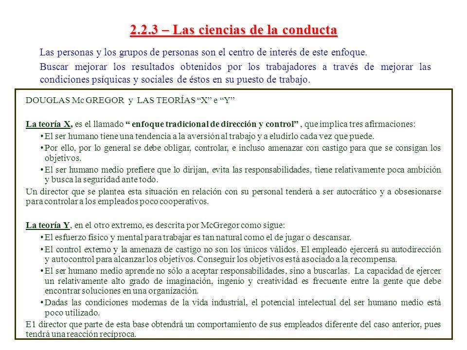 2.2.3 – Las ciencias de la conducta