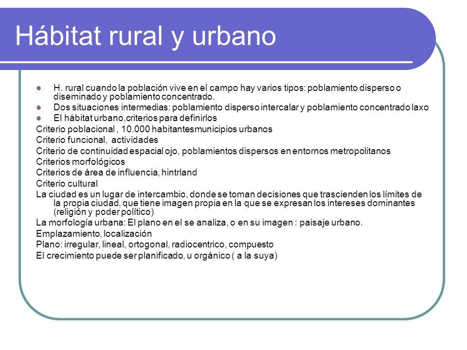 Hábitat rural y urbano H. rural cuando la población vive en el campo hay varios tipos: poblamiento disperso o diseminado y poblamiento concentrado.