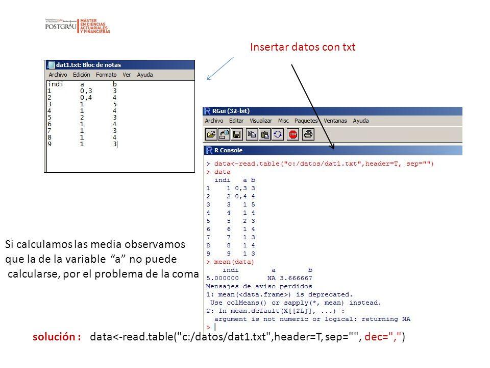 Insertar datos con txt Si calculamos las media observamos. que la de la variable a no puede. calcularse, por el problema de la coma.