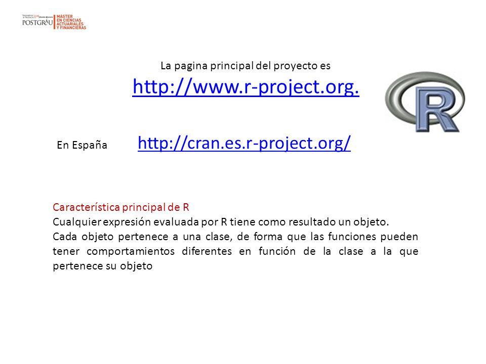 La pagina principal del proyecto es http://www.r-project.org.