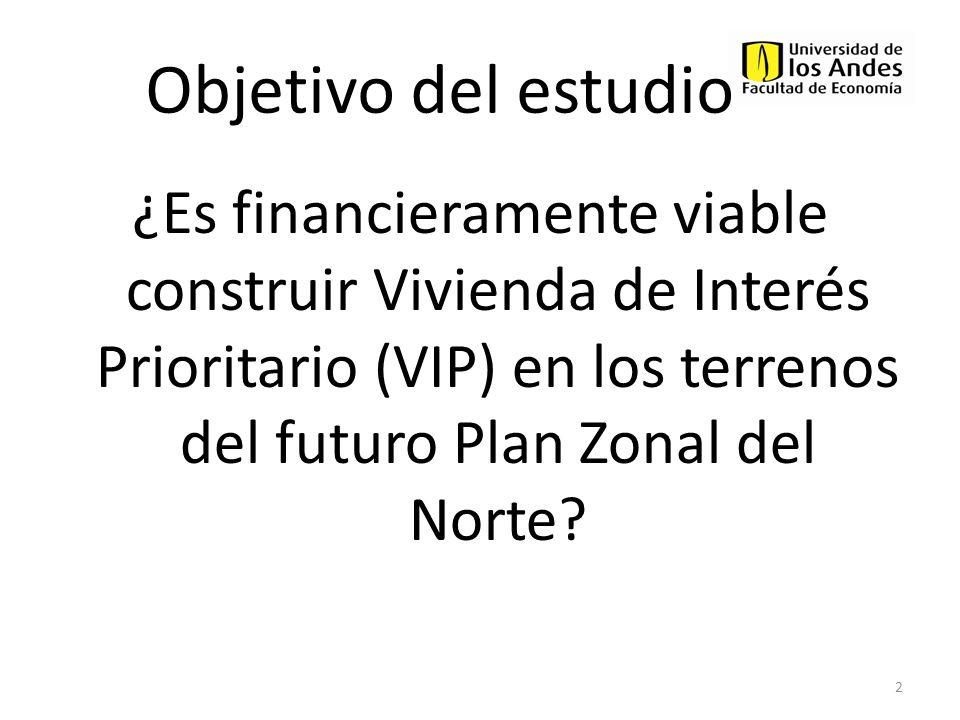 Objetivo del estudio ¿Es financieramente viable construir Vivienda de Interés Prioritario (VIP) en los terrenos del futuro Plan Zonal del Norte