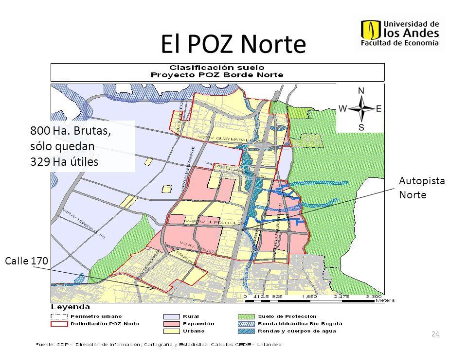 El POZ Norte 800 Ha. Brutas, sólo quedan 329 Ha útiles Autopista Norte