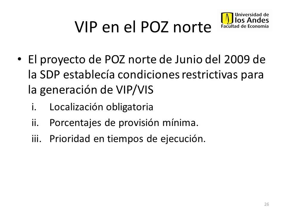 VIP en el POZ norteEl proyecto de POZ norte de Junio del 2009 de la SDP establecía condiciones restrictivas para la generación de VIP/VIS.