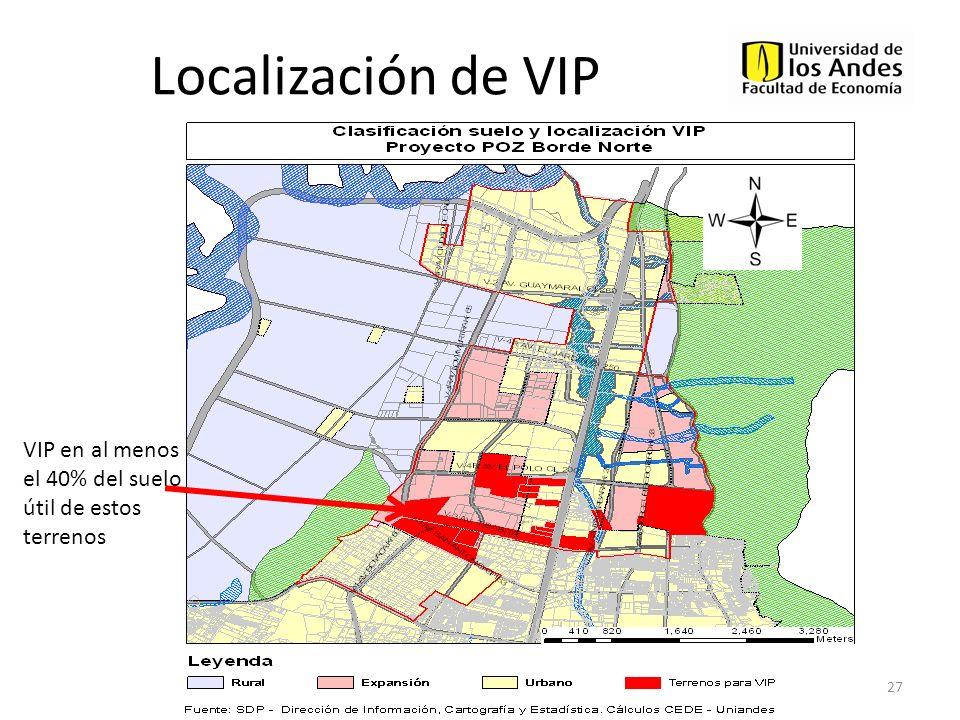 Localización de VIP VIP en al menos el 40% del suelo útil de estos terrenos
