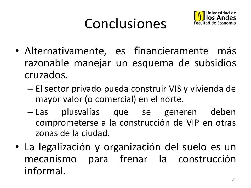 Conclusiones Alternativamente, es financieramente más razonable manejar un esquema de subsidios cruzados.