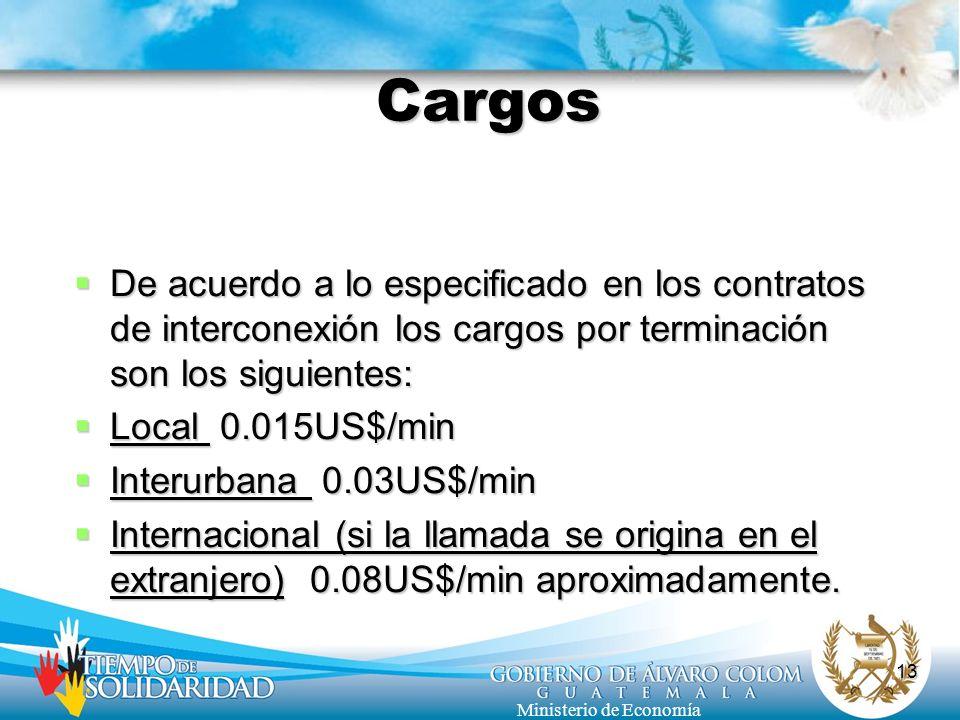 Cargos De acuerdo a lo especificado en los contratos de interconexión los cargos por terminación son los siguientes: