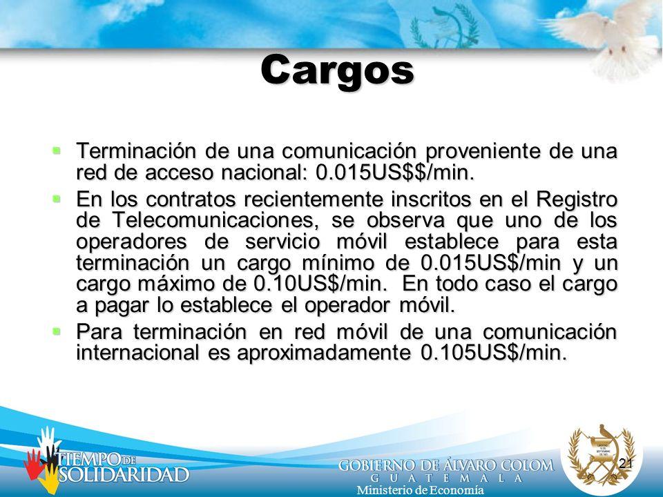 Cargos Terminación de una comunicación proveniente de una red de acceso nacional: 0.015US$$/min.