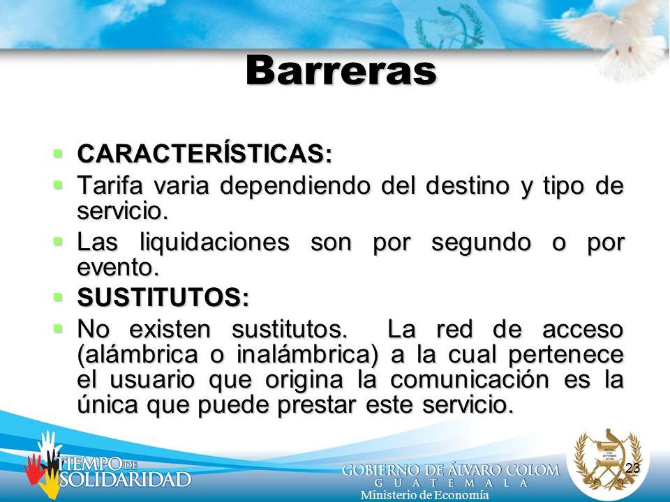 Barreras CARACTERÍSTICAS: