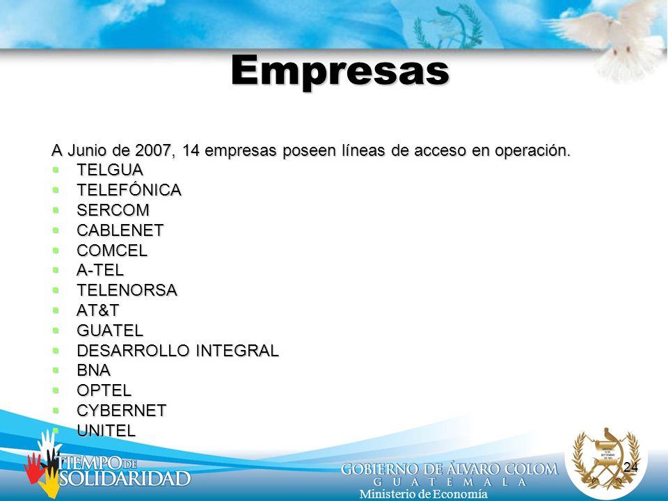 Empresas A Junio de 2007, 14 empresas poseen líneas de acceso en operación. TELGUA. TELEFÓNICA. SERCOM.
