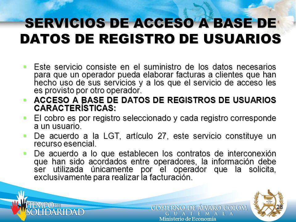 SERVICIOS DE ACCESO A BASE DE DATOS DE REGISTRO DE USUARIOS