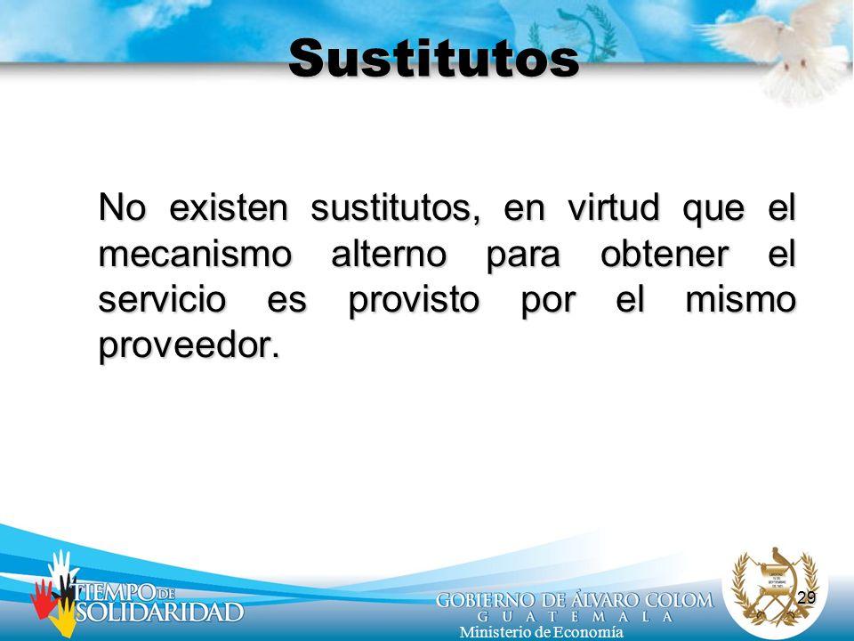 Sustitutos No existen sustitutos, en virtud que el mecanismo alterno para obtener el servicio es provisto por el mismo proveedor.
