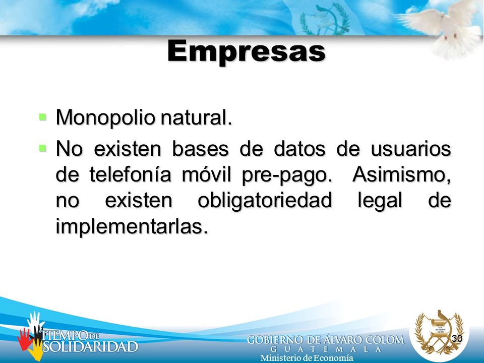 Empresas Monopolio natural.