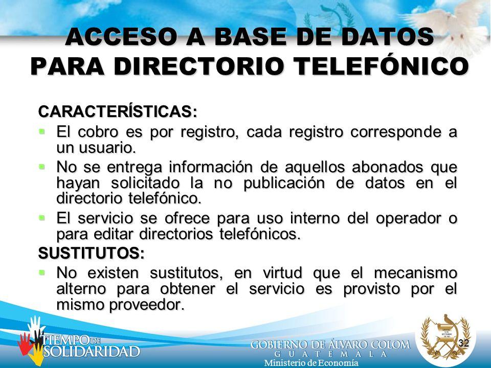 ACCESO A BASE DE DATOS PARA DIRECTORIO TELEFÓNICO