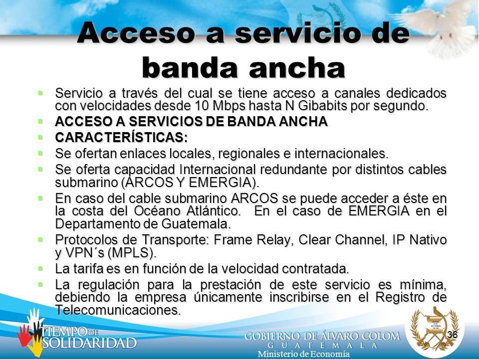 Acceso a servicio de banda ancha