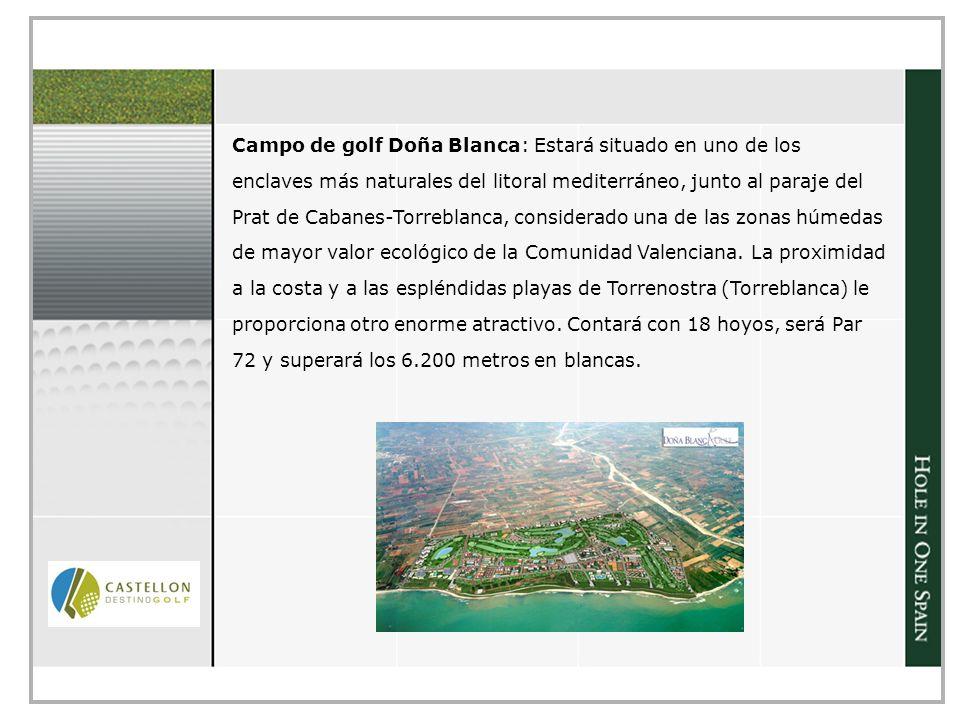 Campo de golf Doña Blanca: Estará situado en uno de los enclaves más naturales del litoral mediterráneo, junto al paraje del Prat de Cabanes-Torreblanca, considerado una de las zonas húmedas de mayor valor ecológico de la Comunidad Valenciana.