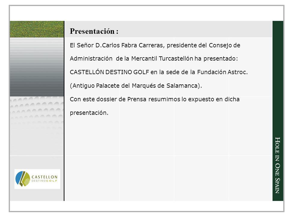 Presentación : El Señor D.Carlos Fabra Carreras, presidente del Consejo de. Administración de la Mercantil Turcastellón ha presentado: