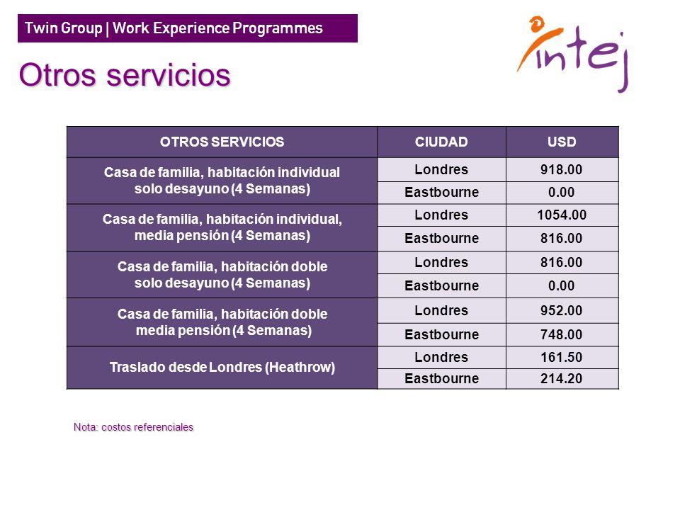 Otros servicios OTROS SERVICIOS CIUDAD USD