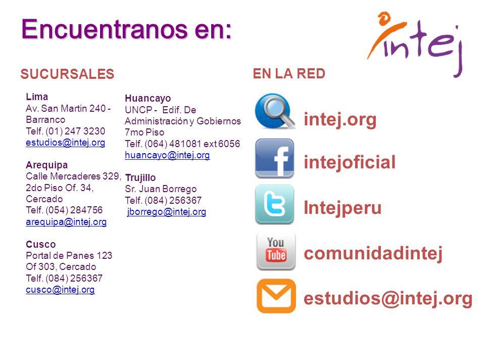 Encuentranos en: intej.org intejoficial Intejperu comunidadintej