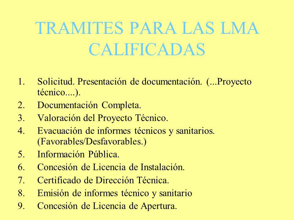 TRAMITES PARA LAS LMA CALIFICADAS
