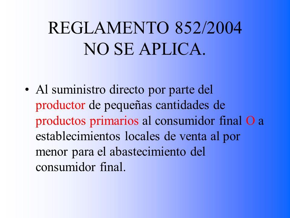 REGLAMENTO 852/2004 NO SE APLICA.