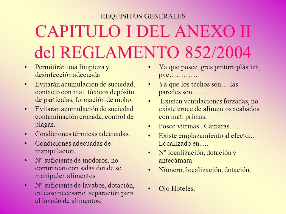 REQUISITOS GENERALES CAPITULO I DEL ANEXO II del REGLAMENTO 852/2004