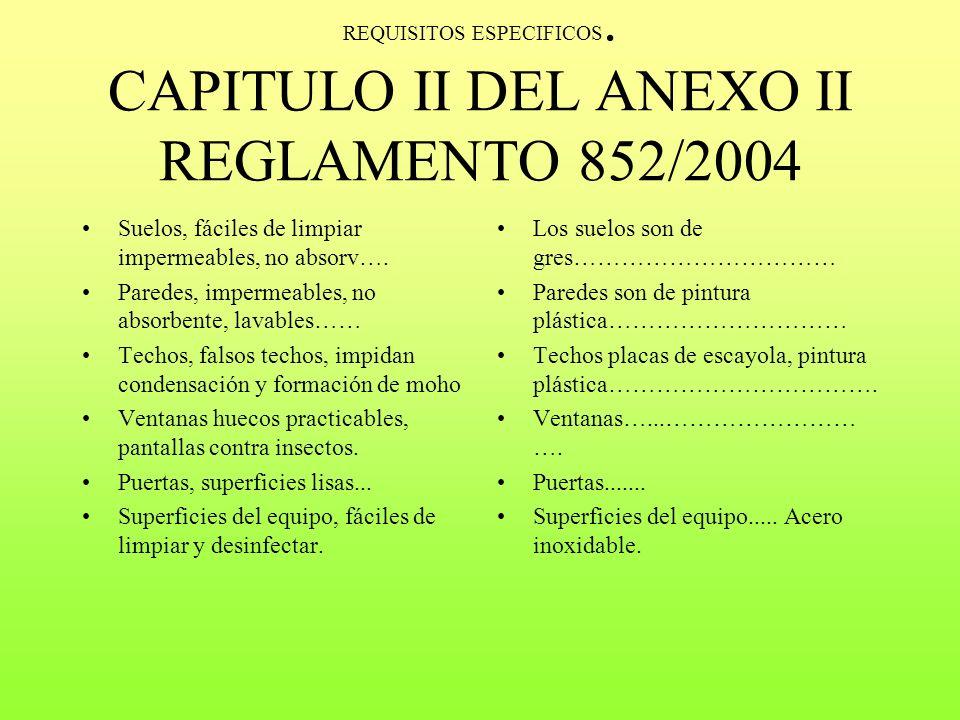 REQUISITOS ESPECIFICOS. CAPITULO II DEL ANEXO II REGLAMENTO 852/2004