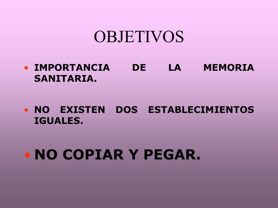 OBJETIVOS NO COPIAR Y PEGAR. IMPORTANCIA DE LA MEMORIA SANITARIA.