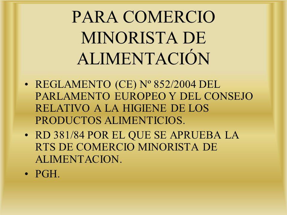 PARA COMERCIO MINORISTA DE ALIMENTACIÓN